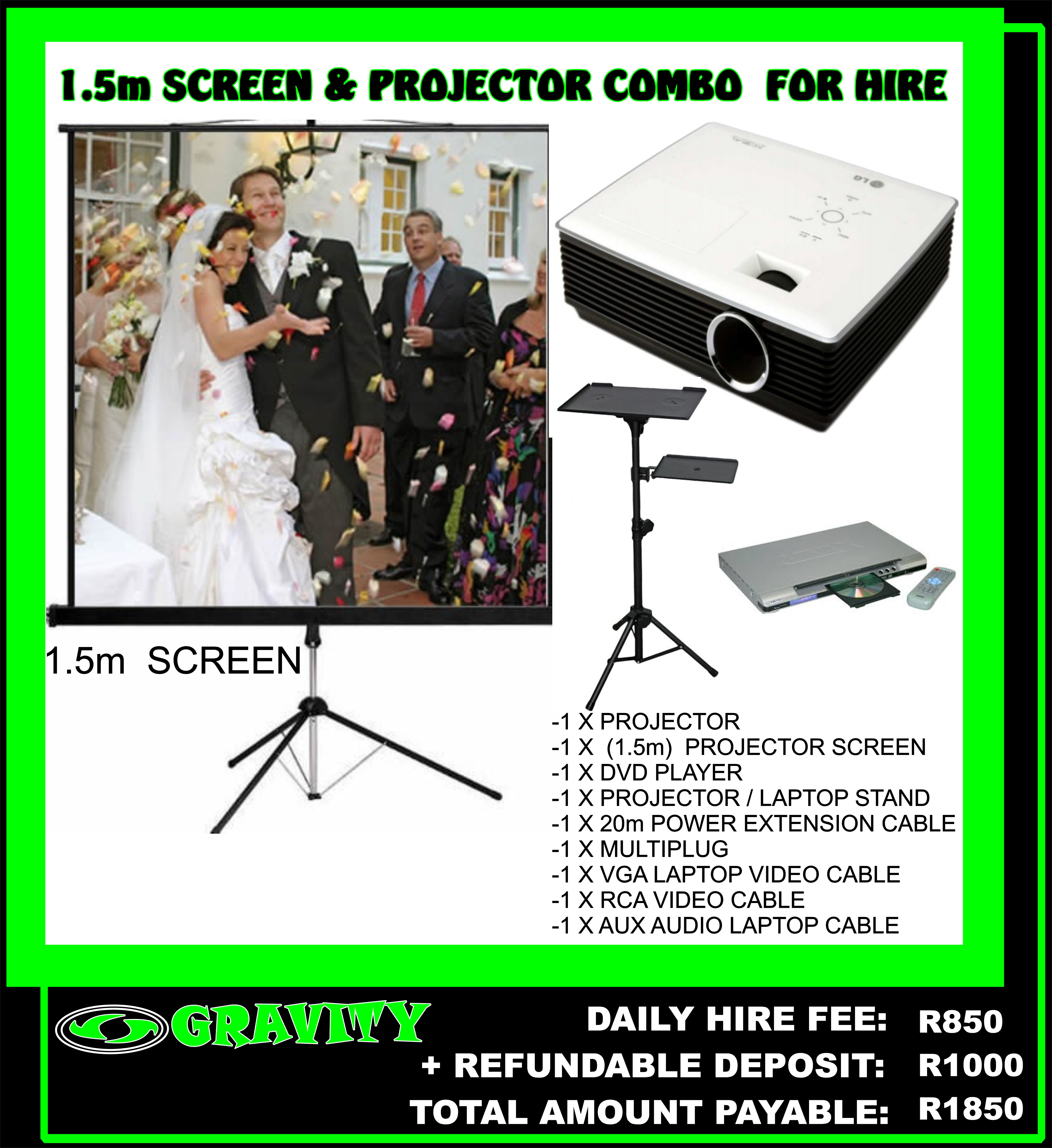PROJECTOR AND 1.5m SCREEN FOR HIRE IN DURBAN IDEAL FOR A SLIDE SHOW FOR A WEDDING BIRTHDAY DEATH CEREMONY CONFERENCE SHOW EVENTS PROJECTS AND SCREEN DAY HIRE ONLY AT GRAVITY SOUND AND LIGHTING WAREHOUSE DURBAN 0315072736 PROJECTOR LAPTOP POWERPOINT PRESENTATIONS ONTO A BIG SCREEN NOW AVAILABLE AT GRAVITY DJ STORE ON A DAILY HIRE FEE 0315072463