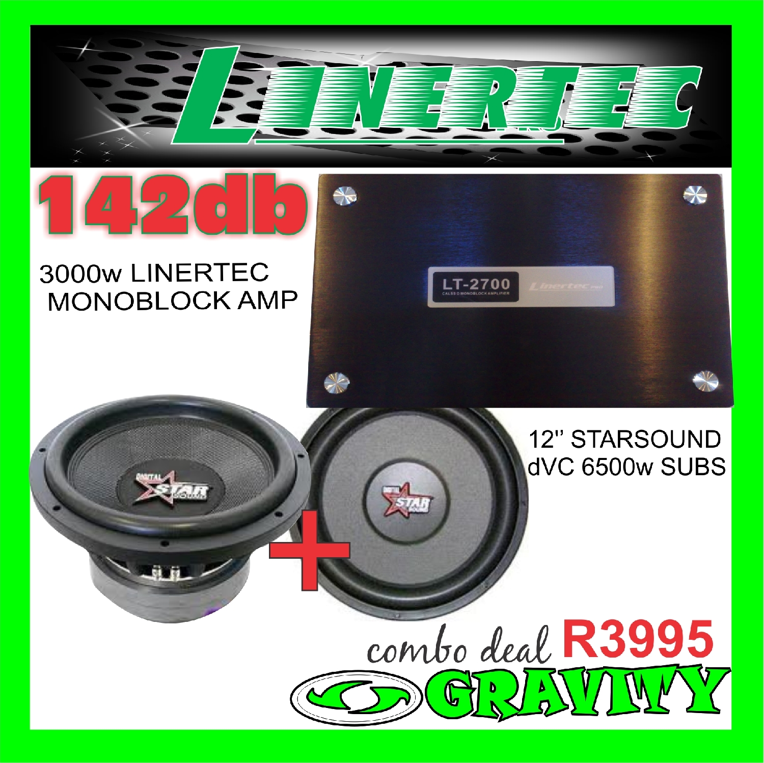 starsound audio sound combo set linertec monoblock amp starsound dvc street subwoofers gravity audio 0315072463 spectrum dvc subs