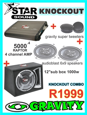 STARSOUND KNOCKOUT COMBO DEAL AMPLIFIER SUB 6X9 SPEAKERS AT GRAVITY AUDIO PHOENIX 0315072463